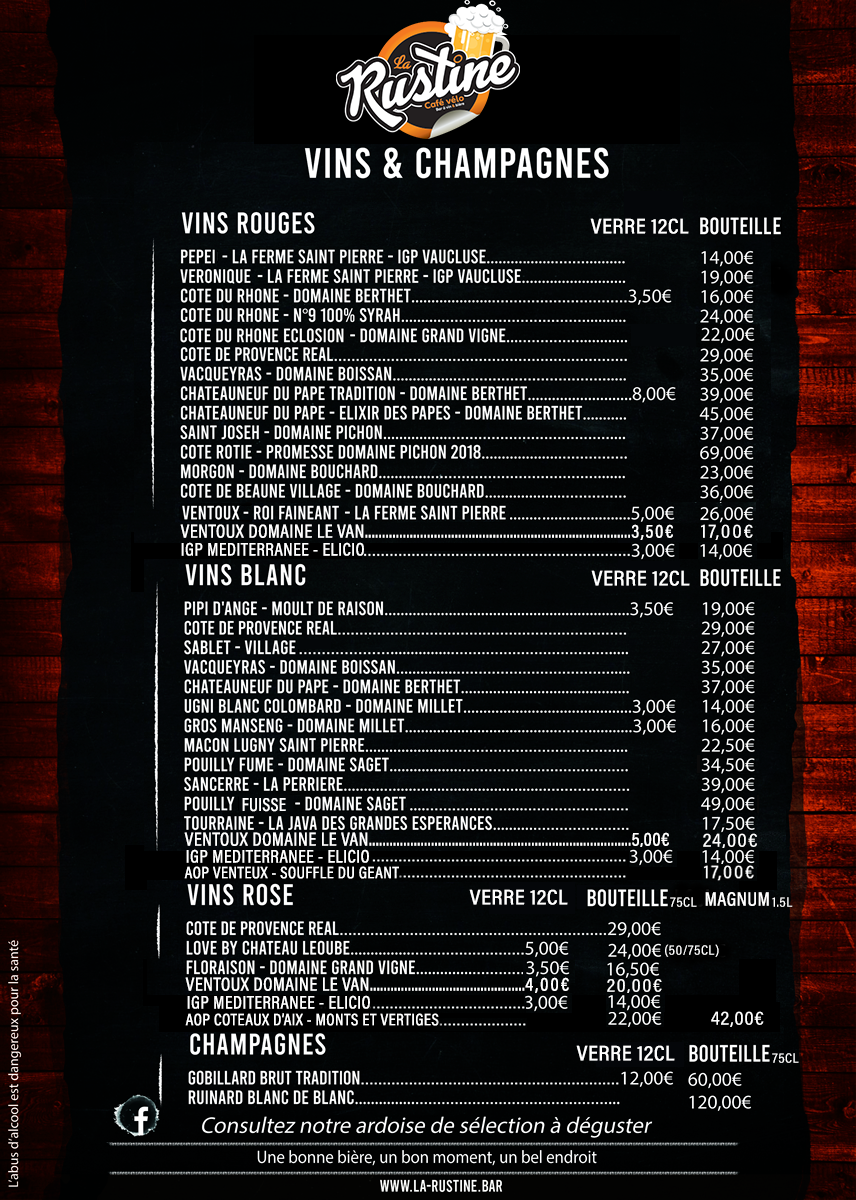 Notre carte des vins et champagnes
